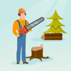 Caucasian lumberjack holding chainsaw. Lumberjack in workwear, hard hat and headphones in forest near stump. Young lumberjack chopping wood in forest. Vector flat design illustration. Square layout.