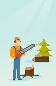 Caucasian lumberjack holding chainsaw. Lumberjack in workwear, hard hat and headphones in forest near stump. Young lumberjack chopping wood in forest. Vector flat design illustration. Vertical layout.