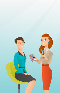Caucasian make up artist applying makeup on woman face. Visagiste doing makeup to young lady. Visagiste doing makeup to a smiling model using brushes. Vector flat design illustration. Vertical layout.