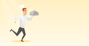 Caucasian male chef cook in the cap and white uniform running. Cheerful chef cook holding a cloche. Smiling chef cook fast running with a cloche. Vector flat design illustration. Horizontal layout.