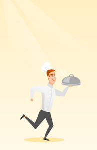 Caucasian male chef cook in the cap and white uniform running. Cheerful chef cook holding a cloche. Smiling chef cook fast running with a cloche. Vector flat design illustration. Vertical layout.