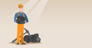 Caucasian male miner in hard hat holding coal in hands. Young miner with a pickaxe. Miner working at coal mine. Young happy male miner at work. Vector flat design illustration. Horizontal layout.