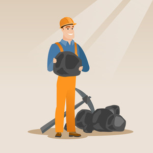 Caucasian male miner in hard hat holding coal in hands. Young miner with a pickaxe. Miner working at coal mine. Young happy male miner at work. Vector flat design illustration. Square layout.