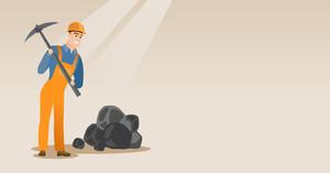 Caucasian male miner in hard hat working with a pickaxe. Male miner working at the coal mine. Young male miner at work. Vector flat design illustration. Horizontal layout.