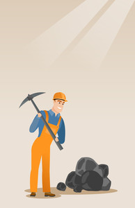 Caucasian male miner in hard hat working with a pickaxe. Male miner working at the coal mine. Young male miner at work. Vector flat design illustration. Vertical layout.