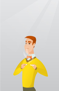 Caucasian man breaking the cigarette. Young man crushing cigarette. Sad man holding broken cigarette. Concept of quit smoking and healthy lifestyle. Vector flat design illustration. Vertical layout.