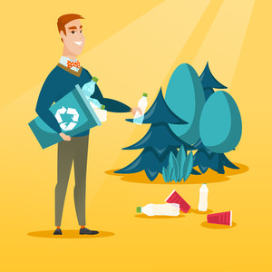 Caucasian man collecting garbage in recycle bin. Happy man with recycling bin in hand picking up used plastic bottles in forest. Waste recycling concept. Vector flat design illustration. Square layout