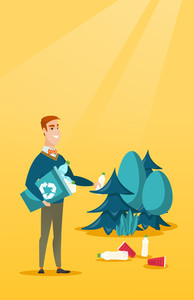 Caucasian man collecting garbage in recycle bin. Man with recycling bin in hand picking up used plastic bottles in forest. Waste recycling concept. Vector flat design illustration. Vertical layout.