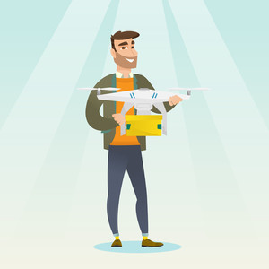 Caucasian man controlling delivery drone with post package. Hipster man getting post package from delivery drone. Man sending parcel with delivery drone. Vector flat design illustration. Square layout