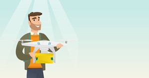 Caucasian man controlling delivery drone with post package. Man getting post package from delivery drone. Man sending parcel with delivery drone. Vector flat design illustration. Horizontal layout.