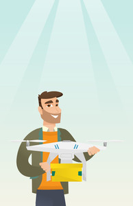 Caucasian man controlling delivery drone with post package. Man getting post package from delivery drone. Man sending parcel with delivery drone. Vector flat design illustration. Vertical layout.