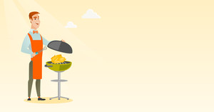 Caucasian man cooking chicken on the barbecue grill outdoors. Man at a barbecue party outdoor. Young man preparing chicken on the barbecue grill. Vector flat design illustration. Horizontal layout.