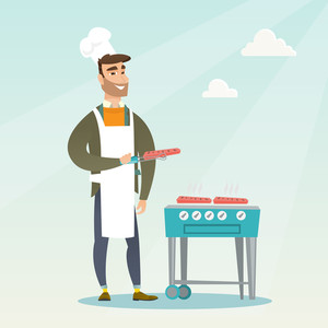 Caucasian man cooking steak on the gas barbecue grill outdoors. Young hipster man preparing steak on the gas barbecue grill. Man at a barbecue party. Vector flat design illustration. Square layout.