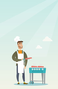 Caucasian man cooking steak on the gas barbecue grill outdoors. Young hipster man preparing steak on the gas barbecue grill. Man at a barbecue party. Vector flat design illustration. Vertical layout.