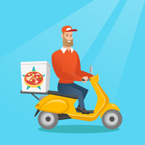Caucasian man delivering pizza on scooter. Courier driving a motorbike and delivering pizza. Worker of delivery service of pizza. Food delivery concept. Vector flat design illustration. Square layout.