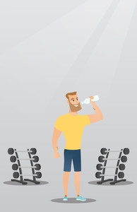 Caucasian man drinking water in the gym. Young hipster man with beard standing with bottle of water. Smiling sportsman drinking water from the bottle. Vector flat design illustration. Vertical layout.