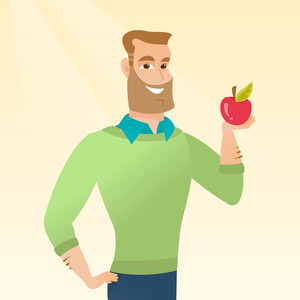 Caucasian man enjoying a fresh healthy red apple. Young man holding an apple in hand. Cheerful hipster man eating an apple. Concept of healthy nutrition. Vector flat design illustration. Square layout