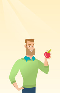 Caucasian man enjoying a fresh healthy red apple. Young man holding an apple in hand. Cheerful man eating an apple. Concept of healthy nutrition. Vector flat design illustration. Vertical layout.
