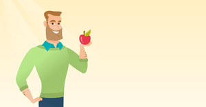 Caucasian man enjoying a fresh healthy red apple. Young man holding an apple in hand. Hipster man eating an apple. Concept of healthy nutrition. Vector flat design illustration. Horizontal layout.
