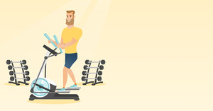Caucasian man exercising on elliptical trainer. Man working out using elliptical trainer in the gym. Man doing exercises on elliptical trainer. Vector flat design illustration. Horizontal layout.