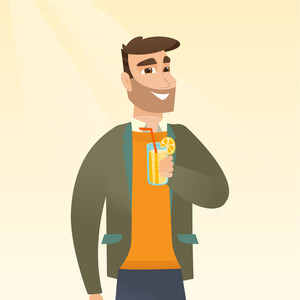 Caucasian man holding a glass with a cocktail. Joyful hipster man drinking a cocktail through a drinking straw. Young man celebrating with a cocktail. Vector flat design illustration. Square layout.