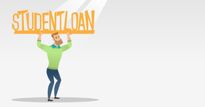 Caucasian man holding a heavy sign of student loan. Young tired man carrying heavy sign - student loan. Concept of the high cost of student loan. Vector flat design illustration. Horizontal layout.
