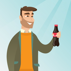 Caucasian man holding fresh soda beverage in a glass bottle. Young man standing with a bottle of soda. Cheerful man drinking brown soda from a bottle. Vector flat design illustration. Square layout.
