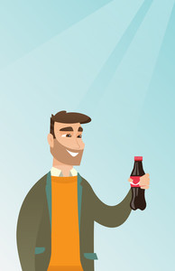 Caucasian man holding fresh soda beverage in a glass bottle. Young man standing with a bottle of soda. Cheerful man drinking brown soda from a bottle. Vector flat design illustration. Vertical layout.