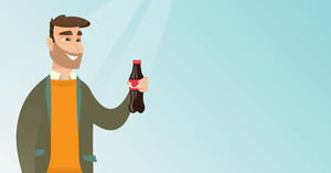 Caucasian man holding fresh soda beverage in a glass bottle. Young man standing with a bottle of soda. Cheerful man drinking soda from a bottle. Vector flat design illustration. Horizontal layout.