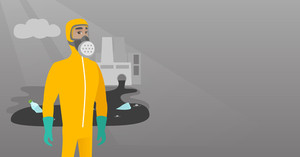 Caucasian man in mask and radiation protective suit standing on the background of nuclear power plant. Scientist wearing radiation protection suit. Vector flat design illustration. Horizontal layout.