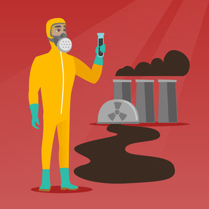 Caucasian man in radiation protective suit holding test-tube. Scientist in radiation protective suit standing on the background of nuclear power plant. Vector flat design illustration. Square layout.