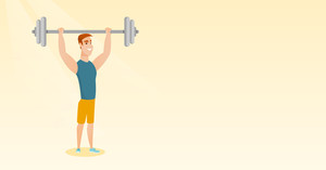 Caucasian man lifting a heavy weight barbell. Young strong sportsman doing exercise with barbell. Weightlifter holding a barbell above his head. Vector flat design illustration. Horizontal layout.