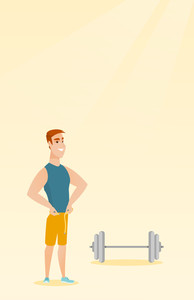 Caucasian man measuring his waistline with a tape. Man measuring with tape the waistline. Man with centimeter on a waistline standing near a barbell. Vector flat design illustration. Vertical layout.