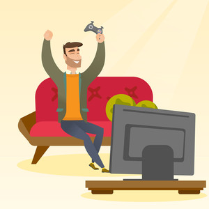 Caucasian man playing a video game. Excited young man playing a video game at home with a console in hands. Man celebrating his victory in a video game. Vector flat design illustration. Square layout.