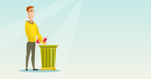 Caucasian man putting junk food into a trash bin. Man refusing to eat junk food. Man rejecting junk food. Man throwing away junk food. Diet concept. Vector flat design illustration. Horizontal layout.