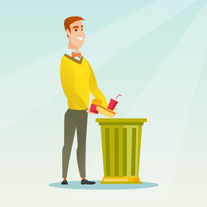 Caucasian man putting junk food into a trash bin. Man refusing to eat junk food. Man rejecting junk food. Man throwing away junk food. Diet concept. Vector flat design illustration. Square layout.