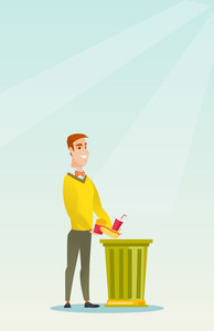 Caucasian man putting junk food into a trash bin. Man refusing to eat junk food. Man rejecting junk food. Man throwing away junk food. Diet concept. Vector flat design illustration. Vertical layout.