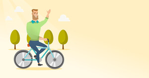 Caucasian man riding a bicycle in the park. Cyclist riding bicycle and waving his hand. Young man on a bicycle outdoors. Healthy lifestyle concept. Vector flat design illustration. Horizontal layout.