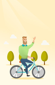 Caucasian man riding a bicycle in the park. Cyclist riding bicycle and waving his hand. Young man on a bicycle outdoors. Healthy lifestyle concept. Vector flat design illustration. Vertical layout.