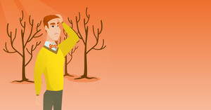 Caucasian man scratching head on the background of dead forest. Dead forest caused by global warming or wildfire. Environmental destruction concept. Vector flat design illustration. Horizontal layout.