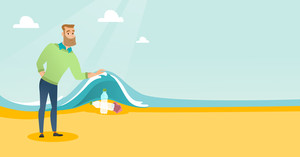 Caucasian man showing plastic bottles under water of sea. Man collecting plastic bottles from water. Water pollution and plastic pollution concept. Vector flat design illustration. Horizontal layout.
