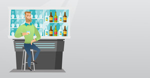 Caucasian man sitting at the bar counter. Man sitting with a glass in the bar. Man sitting alone and celebrating with an alcohol drink in the bar. Vector flat design illustration. Horizontal layout.