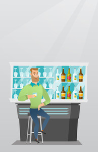 Caucasian man sitting at the bar counter. Man sitting with a glass in the bar. Man sitting alone and celebrating with an alcohol drink in the bar. Vector flat design illustration. Vertical layout.