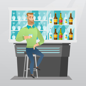 Caucasian man sitting at the bar counter. Young man sitting with a glass in the bar. Man sitting alone and celebrating with an alcohol drink in the bar. Vector flat design illustration. Square layout.