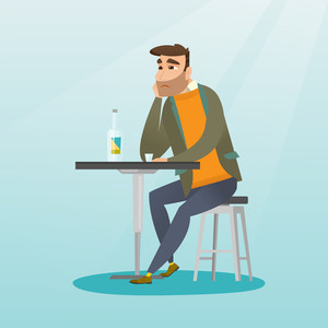 Caucasian man sitting in the bar and drinking a cocktail. Young sad man sitting alone in the bar with a cocktail. Man drinking a cocktail in the bar. Vector flat design illustration. Square layout.