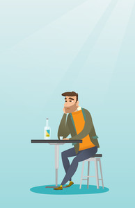 Caucasian man sitting in the bar and drinking a cocktail. Young sad man sitting alone in the bar with a cocktail. Man drinking a cocktail in the bar. Vector flat design illustration. Vertical layout.