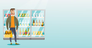 Caucasian man standing in alcohol store with pack of beer on the background of refrigerator. Man buying beer. Beer lover holding pack with bottles. Vector flat design illustration. Horizontal layout.
