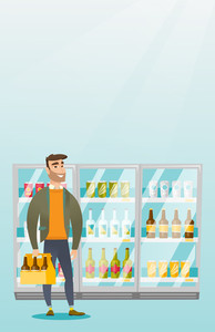 Caucasian man standing in alcohol store with pack of beer on the background of refrigerator. Man buying beer. Beer lover holding pack with bottles. Vector flat design illustration. Vertical layout.