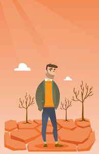 Caucasian man standing in the desert. Frustrated young man standing on cracked earth in the desert. Concept of climate change and global warming. Vector flat design illustration. Vertical layout.