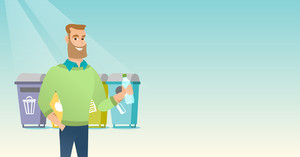 Caucasian man throwing away garbage. Man standing near four bins and throwing away garbage in an appropriate bin. Concept of garbage separation. Vector flat design illustration. Horizontal layout.